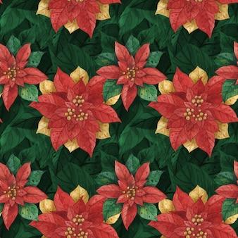 Navidad rojo verde estrella poinsettia de patrones sin fisuras