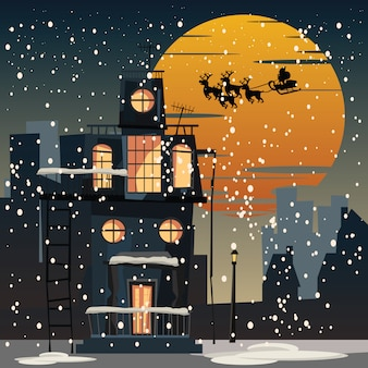 Navidad y santa claus en la ciudad en la ilustración vectorial de noche
