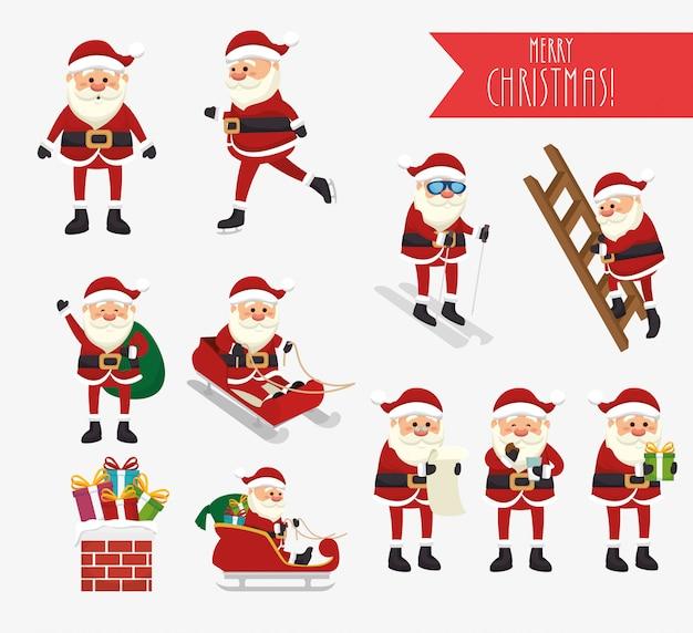 Navidad con santa claus y conjunto de iconos