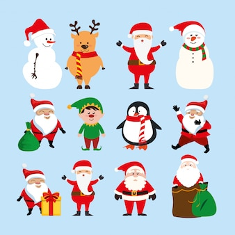 Navidad con santa claus y conjunto de personajes
