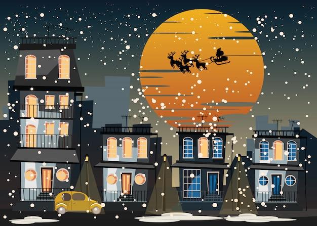 Navidad y santa claus en la ilustración vectorial de la ciudad