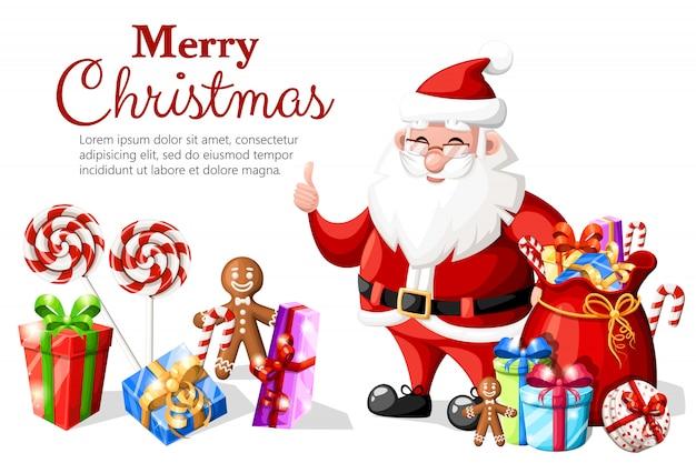 Navidad santa claus con el pulgar hacia arriba gesto con sombrero rojo y regalos ilustración de personaje de vacaciones sobre fondo blanco con lugar para el texto
