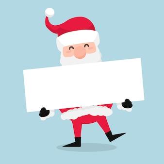Navidad santa claus sosteniendo pancarta en blanco