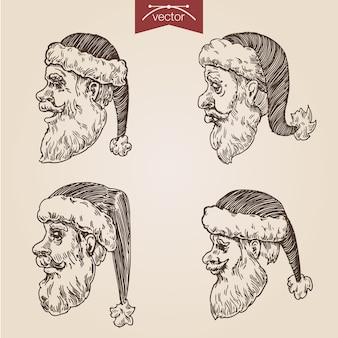 Navidad santa set grabado dibujado a mano