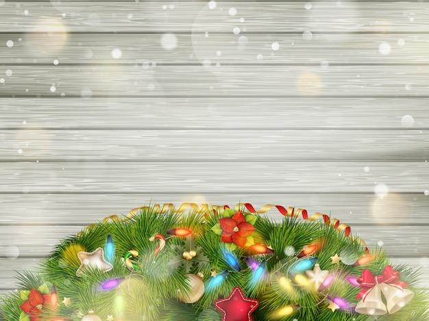 Navidad textura de madera vintage con nieve, acebo, abeto.