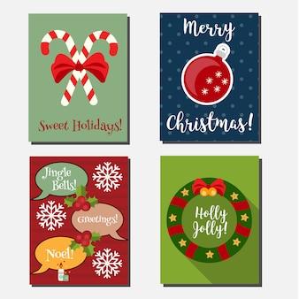 Navidad, vacaciones de año nuevo vector plantilla de banners verticales.