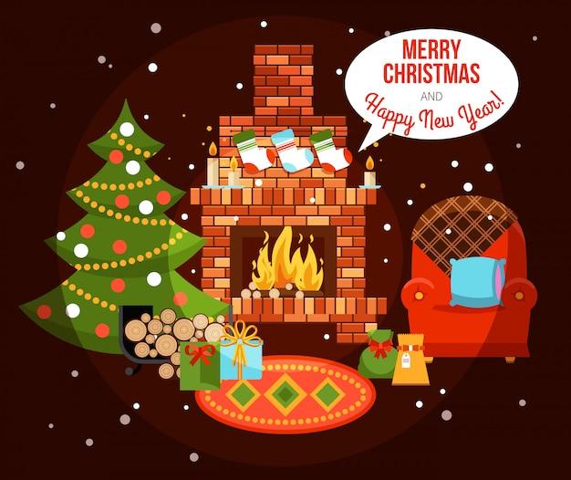 Navidad vacaciones chimenea ilustración