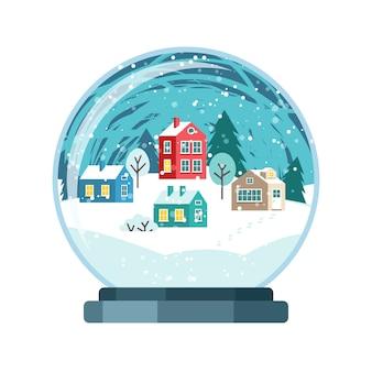 Navidad vector globo de nieve con casas pequeñas