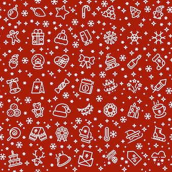 Navidad vector de patrones sin fisuras con los iconos de contorno de vacaciones de navidad