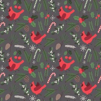 Navidad vector de patrones sin fisuras pájaros cardenal ilustración de vacaciones con elementos tradicionales