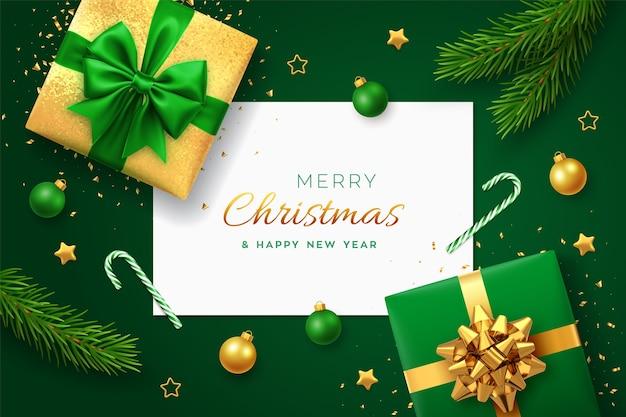 Navidad verde con banner de papel cuadrado