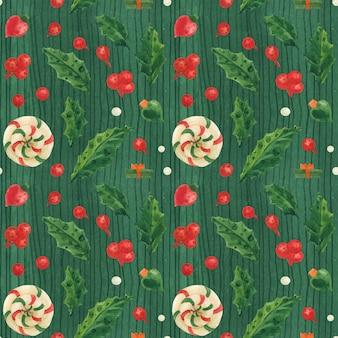 Navidad verde de patrones sin fisuras con piruletas y adornos de vidrio, acuarela trazada