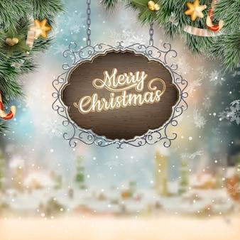 Navidad vintage letrero.