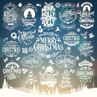 Navidad y año nuevo vector conjunto de fondo con tipografía