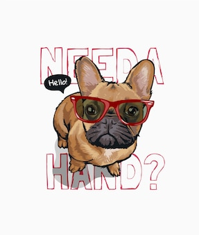 Necesito un lema de mano con lindo perro en gafas de sol ilustración
