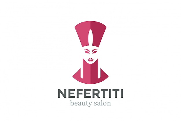 Nefertiti head silhouette beauty spa salon plantilla de diseño de logotipo.