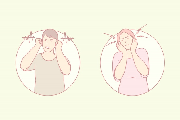 Negativa a escuchar, cerrar oídos, concepto de problema auditivo