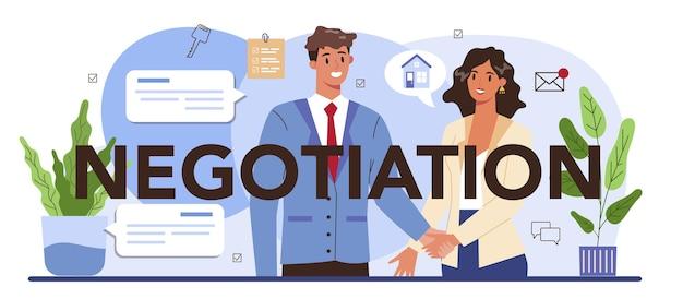 Negociación encabezado tipográfico agencia inmobiliaria compra de propiedad