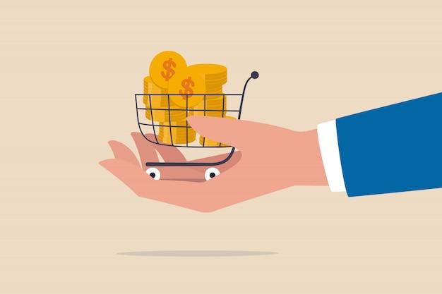 Negociar un acuerdo comercial para el comprador y el vendedor, comprar al mejor precio, acciones para el inversor o el consumidor y el concepto de marketing, monedas de oro en un carrito de compras o un carrito en la mano del empresario