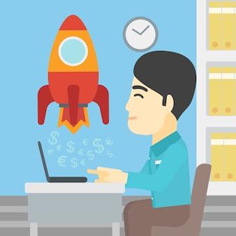 El negocio acertado comienza para arriba la ilustración del vector.