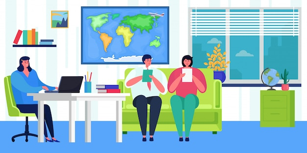 Negocio de agencia, ilustración. vacaciones de turismo de la oficina de negocios, reserva de carácter de cliente de personas para viaje mundial.