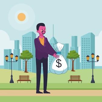 Negocio ahorrando dibujos animados de dinero