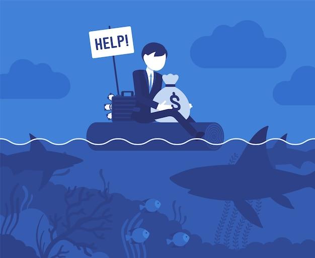Negocio atacado por un gran tiburón. joven empresario tratando de defender su pequeña empresa y dinero de agresivos ataques deshonestos, pidiendo ayuda. ilustración con personajes sin rostro