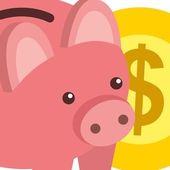 Negocio banco alcancía y dólar dinero moneda isométrica