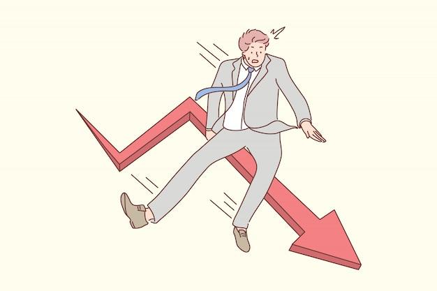 Negocio, caída, concepto de quiebra