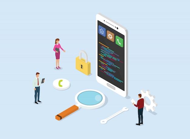 Negocio de concepto de desarrollo de aplicaciones con teléfono inteligente y código de script de programación