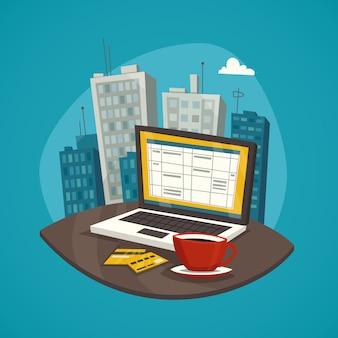 Negocio conjunto de concepto de diseño de lugar de trabajo