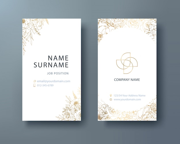 Negocio corporativo floral, plantilla de diseño de tarjeta de presentación personal.