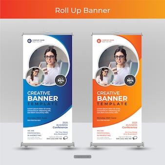 Negocio corporativo roll up o stand plantilla de banner con diseño abstracto