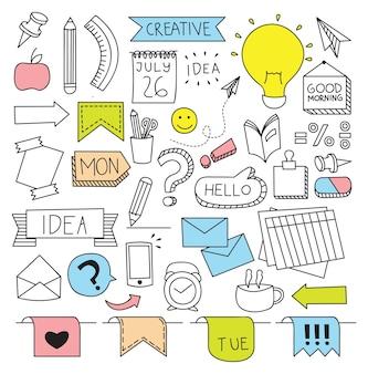 Negocio creativo temático en la ilustración de vector de estilo doodle