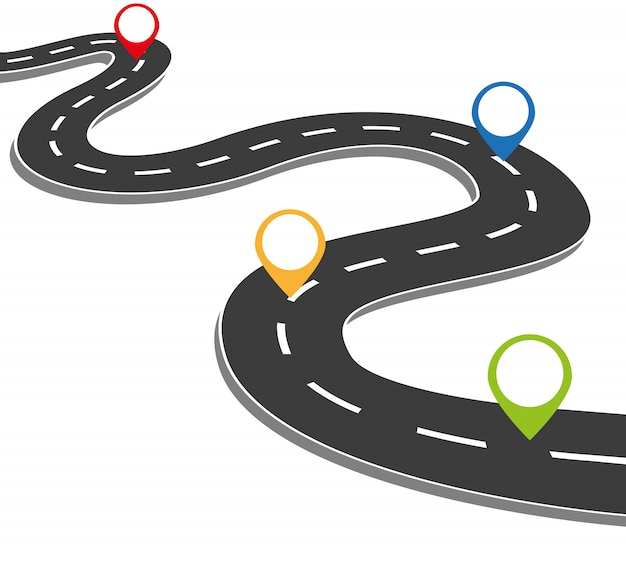 Negocio curvo hoja de ruta cronograma infografía