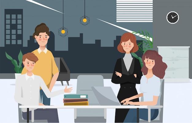 Negocio dibujado a mano personas trabajo en equipo oficina carácter. espacio de trabajo y diseño de interiores.