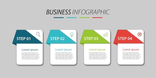 Negocio de diseño infográfico con 4 pasos
