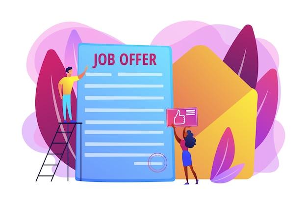 Negocio exitoso. contratación de empleados, servicio de reclutamiento. carta de oferta de trabajo, programa de voluntariado internacional, concepto de contrato permanente.