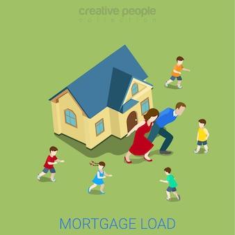 Negocio financiero de carga de préstamo de carga hipotecaria de estilo plano isométrico