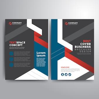 Negocio folleto plantilla azul rojo gris formas geométricas