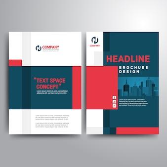 Negocio folleto plantilla rojo azul formas geométricas