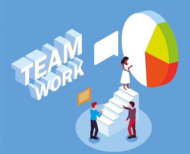 Negocio de grupo de personas en pastel, trabajo en equipo de éxito