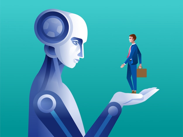 Negocio humano en mano robótica