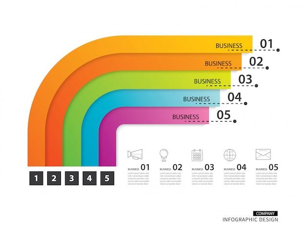 Negocio de infografías de la línea de tiempo del camino con plantilla de 5 rutas