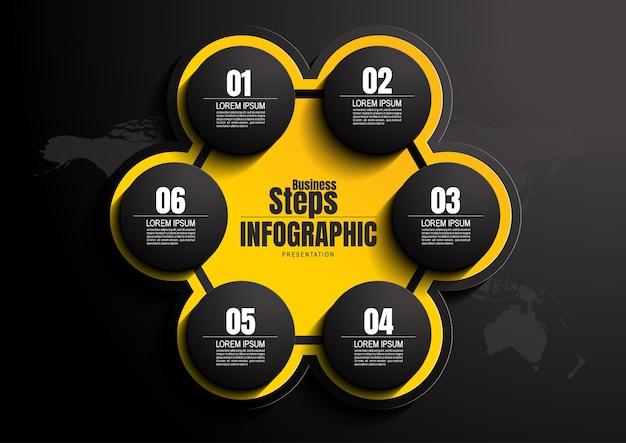 Negocio de infografías, plantilla de diseño de gráfico de proceso para presentación, elementos abstractos de la línea de tiempo.