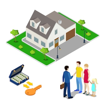 Negocio inmobiliario. agente corredor que vende la casa a la familia joven. gente isométrica ilustración vectorial