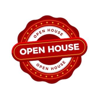 Negocio inmobiliario con insignia de casa abierta