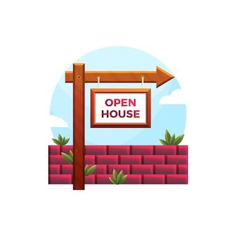 Negocio inmobiliario con signo de casa abierta