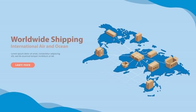 Negocio internacional de envío internacional.