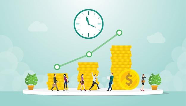 Negocio de inversión desde hace mucho tiempo con ingresos, ganancias comerciales y pila de monedas de oro con estilo plano moderno